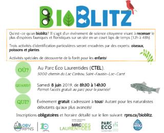 Bioblitz de l'OBV RPNS au Parc Éco Laurentides (CTEL)