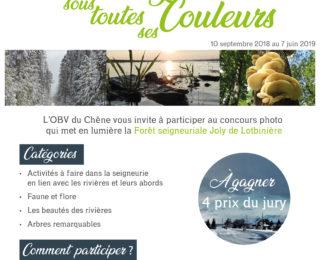 Concours photo 2018-2019: la Forêt seigneuriale Joly de Lotbinière sous toutes ses couleurs